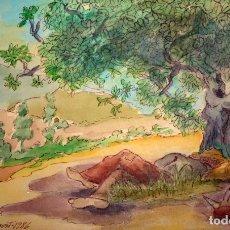 Arte: FIRMADO C. ALAVEDRA. ACUARELA SOBRE PAPEL FECHADA DEL AÑO 1986. PAISAJE CON PERSONAJE. Lote 174225912