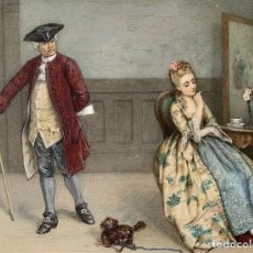 Arte: JAMES C. PLAYFAIR (1845-1904) ACUARELA FIRMADA ELEGANTES EN GRAN SALA INTERIOR. Lote 174271840