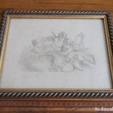 Arte: CUADRO CON MARCO DE MADERA DORADA Y DIBUJO DE ÁNGELES ESCRIBIENDO O DIBUJANDO. Lote 174337644