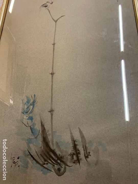 Arte: Preciosa acuarela japonesa, gorrion sobre rama de bambú. Firmado. Mide 52x34cms en total - Foto 3 - 174456787