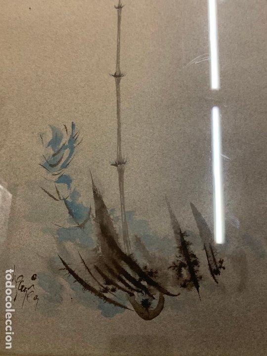 Arte: Preciosa acuarela japonesa, gorrion sobre rama de bambú. Firmado. Mide 52x34cms en total - Foto 5 - 174456787