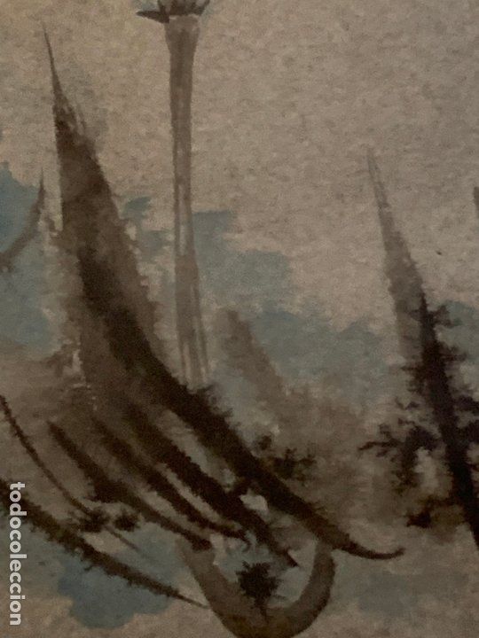 Arte: Preciosa acuarela japonesa, gorrion sobre rama de bambú. Firmado. Mide 52x34cms en total - Foto 7 - 174456787