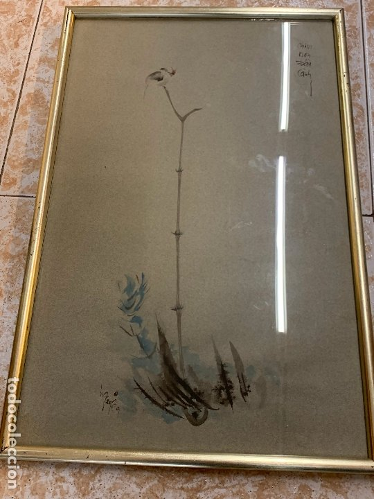 PRECIOSA ACUARELA JAPONESA, GORRION SOBRE RAMA DE BAMBÚ. FIRMADO. MIDE 52X34CMS EN TOTAL (Arte - Acuarelas - Contemporáneas siglo XX)