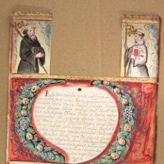 Art: DIBUJO ACUARELADO CON ESCENAS RELIGIOSAS. SIGLO XVIII. Lote 174579230