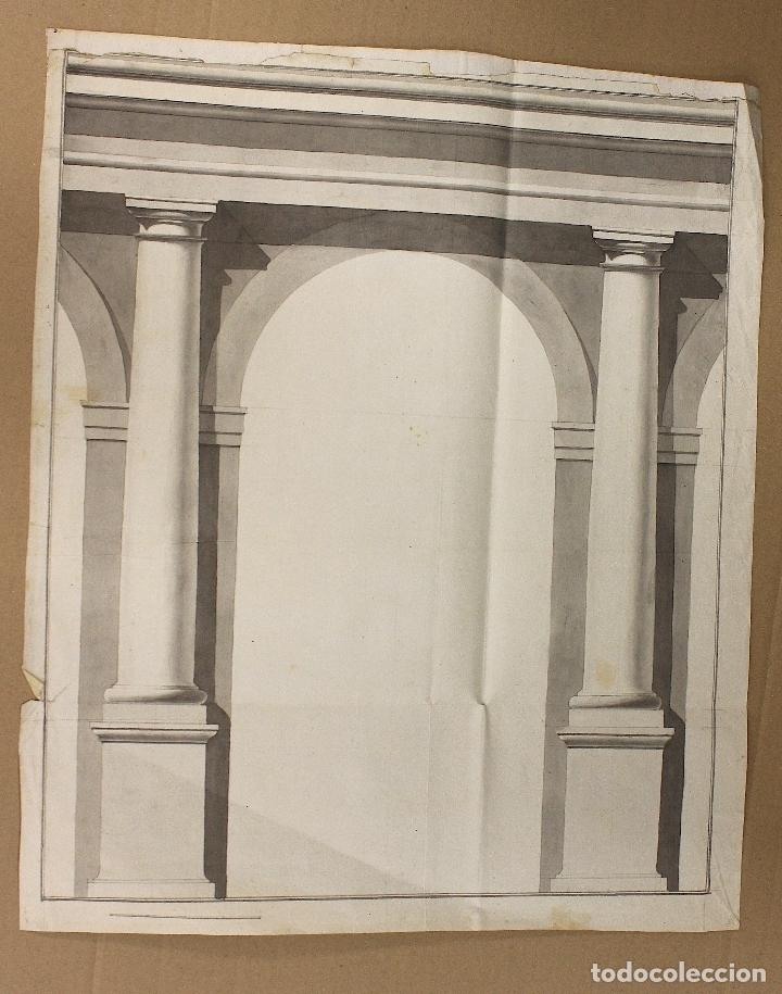 ACUARELA ORIGINAL ARQUITECTURA. S. XVIII (Arte - Acuarelas - Antiguas hasta el siglo XVIII)
