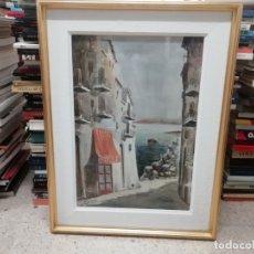 Arte: EXTRAORDINARIA ACUARELA DE PUEBLO DE COSTERO. FIRMADO POR GOYO H. 71 X 53 CM. UNA JOYA!!!. Lote 174997943