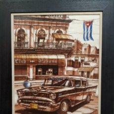 Arte: ACUARELA ORIGINAL,COCHE DE LA VIEJA HABANA. Lote 175409733