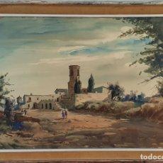 Arte: PAISAJE DE UN PUEBLO. ACUARELA SOBRE PAPEL. F. LLEONART. 1959.. Lote 175649785