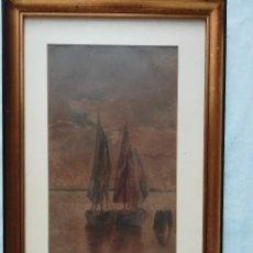 Arte: MARINA CON BARCAS ( ACUARELA), FIRMADO POR M. GARCIA EN 1928. Lote 175669168