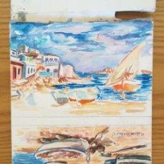 Arte: DOS ACUARELAS PINTADAS EN UNA HOJA FIRMADA RUIZ ALBA. Lote 175713814