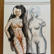 Arte: UN BLOQUE CON 16 ACUARELAS Y DIBUJOS DE RUIZ ALBA. Lote 175714625