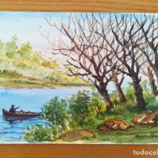 Arte: ACUARELA PINTADA EN UNA HOJA DE RUIZ ALBA - PAISAJE RIO (2). Lote 175722260