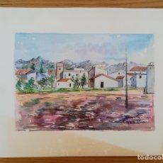 Arte: ACUARELA PINTADA EN UNA HOJA DE RUIZ ALBA - PUEBLO. Lote 175722485
