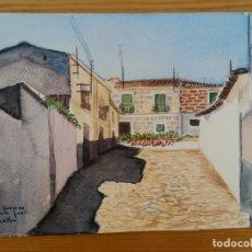 Arte: ACUARELA PINTADA EN UNA HOJA DE RUIZ ALBA - PUEBLO (2). Lote 175722947