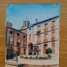 Arte: ACUARELA PINTADA EN UNA HOJA DE RUIZ ALBA - FUENTE. Lote 175723448