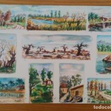 Arte: UNA SERIE DE 10 ACUARELA PINTADA EN UNA HOJA DE RUIZ ALBA - PAISAJE. Lote 175723828