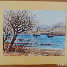 Arte: ACUARELA PINTADA EN UNA HOJA DE RUIZ ALBA - LAGO (3). Lote 175724303