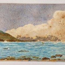Arte: MARAVILLOSA ACUARELA ORIGINAL, DE MEDIADOS DEL SIGLO XIX, CIRCA 1860, PAISAJE DE MAR Y MONTAÑA. Lote 175753197