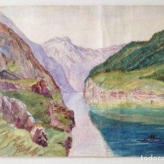 Arte: EXCELENTE ACUARELA ORIGINAL, DE MEDIADOS DEL SIGLO XIX, CIRCA 1860. INTERESANTE PINCELADA. Lote 175772865