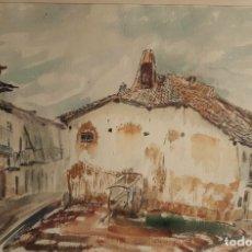 Arte: ANTONIA MIR CHUST (CATARROJA,VALENCIA 1928) CASAS DE PUEBLO , ACUARELA 40 X 60 . AÑOS 60. Lote 175919153