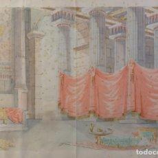 Arte: ACUARELA SOBRE PAPEL ESTANCIA ROMANA FIRMADA N.CASTELLER. Lote 175990768