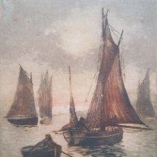 Arte: ESCUELA FRANCESA (XIX-XX) - VELEROS I BARCAS EN MAR. AGUAFUERTE I AGUATINTA.FIRMA ILEGIBLE.. Lote 175976297