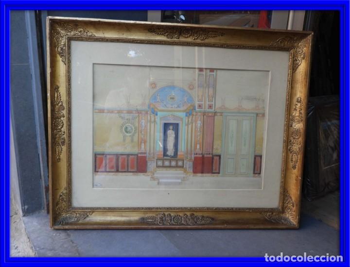CUADRO NEOCLASICO TECNICA GOUACHE ACUARELA S. XIX (Arte - Acuarelas - Modernas siglo XIX)
