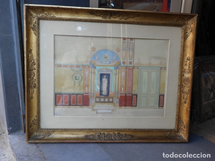 Arte: CUADRO NEOCLASICO TECNICA GOUACHE ACUARELA S. XIX - Foto 12 - 176205012