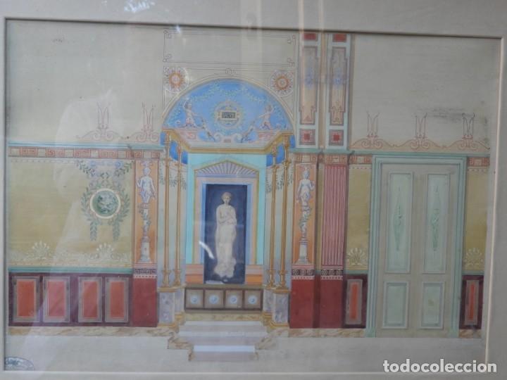 Arte: CUADRO NEOCLASICO TECNICA GOUACHE ACUARELA S. XIX - Foto 2 - 176205012