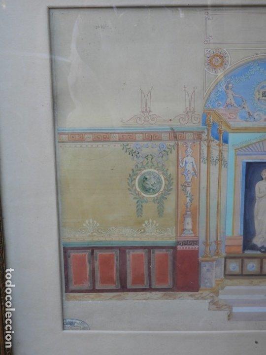 Arte: CUADRO NEOCLASICO TECNICA GOUACHE ACUARELA S. XIX - Foto 8 - 176205012