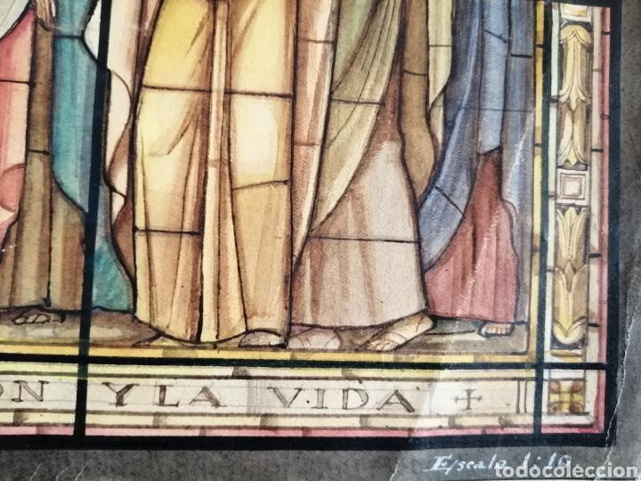 Arte: Extraordinaria tempera y acuarela sobre cartón. Proyecto para vidriera. - Foto 5 - 176414278