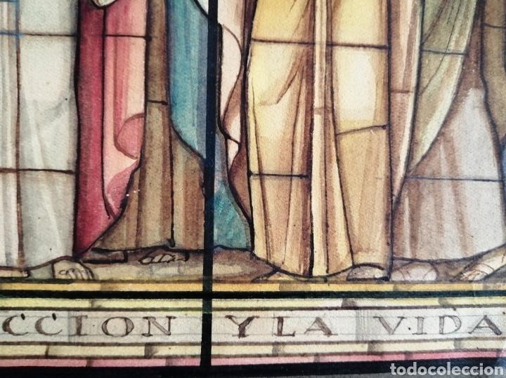 Arte: Extraordinaria tempera y acuarela sobre cartón. Proyecto para vidriera. - Foto 12 - 176414278