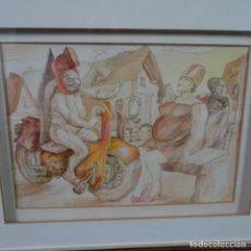 Arte: ACUARELA ILEGIBLE CON FIRMA ILEGIBLE DE 1985.BUEN TRAZO.BIEN ENMARCADO.. Lote 176452279