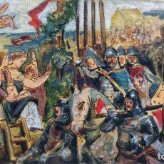 Arte: MARAVILLOSA ACUARELA ORIGINAL, ESCENA MEDIEVAL DE UNA BATALLA, GRAN CALIDAD, CIRCA 1870. Lote 176565759