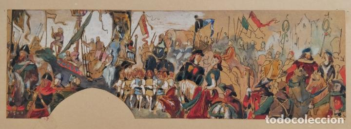Arte: Maravillosa acuarela original, escena medieval de una batalla, gran calidad, circa 1870 - Foto 2 - 176566093