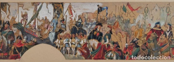 MARAVILLOSA ACUARELA ORIGINAL, ESCENA MEDIEVAL DE UNA BATALLA, GRAN CALIDAD, CIRCA 1870 (Arte - Acuarelas - Modernas siglo XIX)