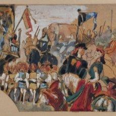 Arte: MARAVILLOSA ACUARELA ORIGINAL, ESCENA MEDIEVAL DE UNA BATALLA, GRAN CALIDAD, CIRCA 1870. Lote 176566093