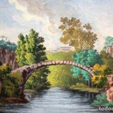 Arte: CARLOS DE HAES (BRUSELAS, 1829 - MADRID, 1898) ACUARELA SOBRE PAPEL. PAISAJE CON PUENTE. Lote 176596045