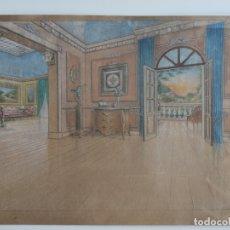Arte: DIBUJO A CERAS , CON MOTIVO DE DECORACIÓN INTERIORES . Lote 176637130