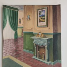 Arte: DIBUJO A CERAS , CON MOTIVO DE DECORACIÓN INTERIORES . Lote 176637360