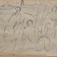 Arte: SERVANDO DEL PILAR (VILLACASTÍN, SEGOVIA, 1903 - MADRID, 1990) DIBUJO A TINTA. ESCENA CON PERSONAJE. Lote 29183970