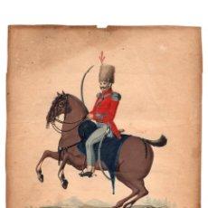Arte: ACUARELA MILITAR CON ESCENA DE SOLDADO A CABALLO. SIGLO XIX. Lote 176892834