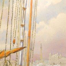Arte: EL PUERTO DE BARCELONA. ACUARELA SOBRE PAPEL. FIRMADO MESTRES CABANES. XX. Lote 176909828