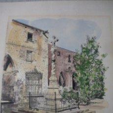 Arte: ACUARELA CALLE HOSPITAL STA CRUZ BARCELONA SIN FIRMA. Lote 176996382