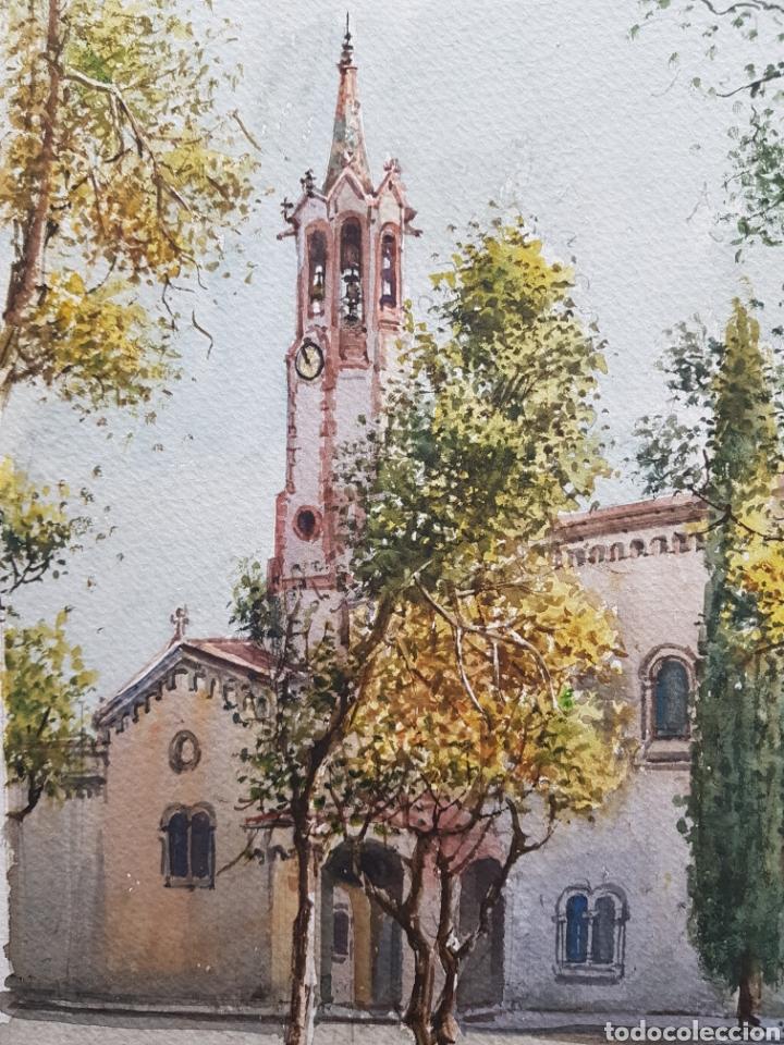 Arte: Carlos Ballestero Alcon (1942) - Santuario de la Salut,Sabadell.Acuarela.Firmada. - Foto 2 - 176410172