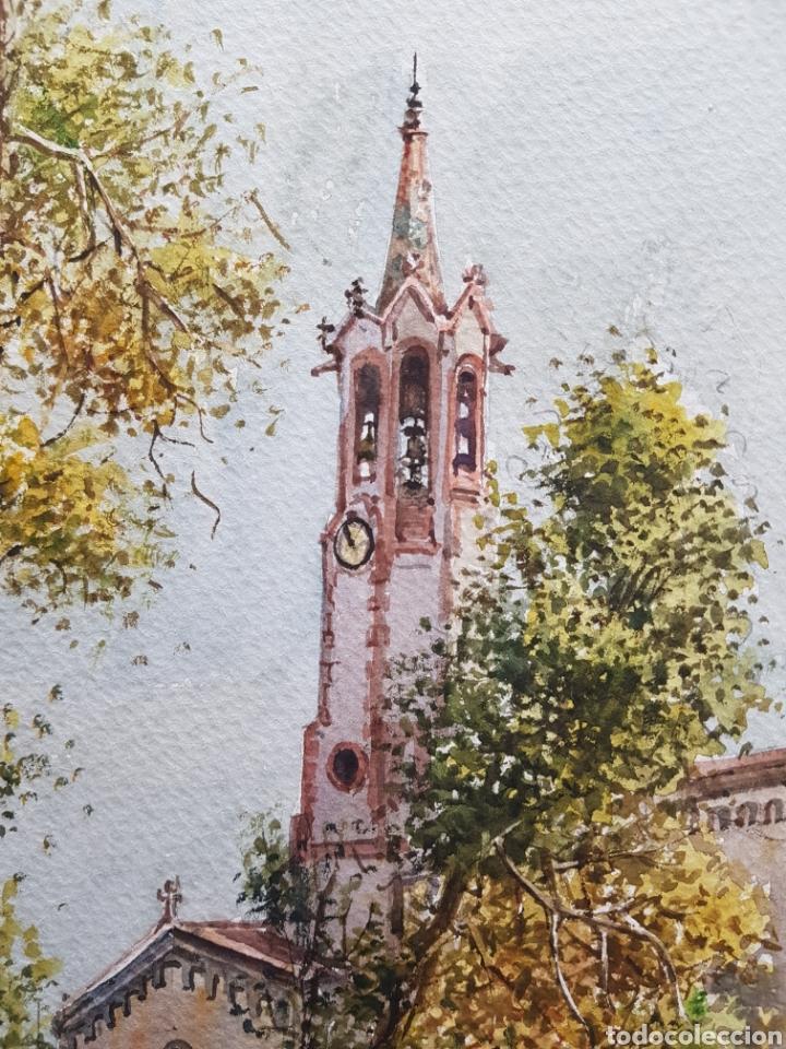 Arte: Carlos Ballestero Alcon (1942) - Santuario de la Salut,Sabadell.Acuarela.Firmada. - Foto 3 - 176410172