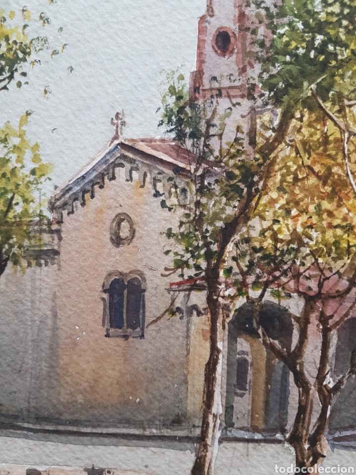 Arte: Carlos Ballestero Alcon (1942) - Santuario de la Salut,Sabadell.Acuarela.Firmada. - Foto 4 - 176410172