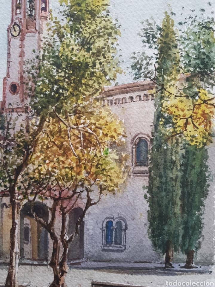 Arte: Carlos Ballestero Alcon (1942) - Santuario de la Salut,Sabadell.Acuarela.Firmada. - Foto 5 - 176410172