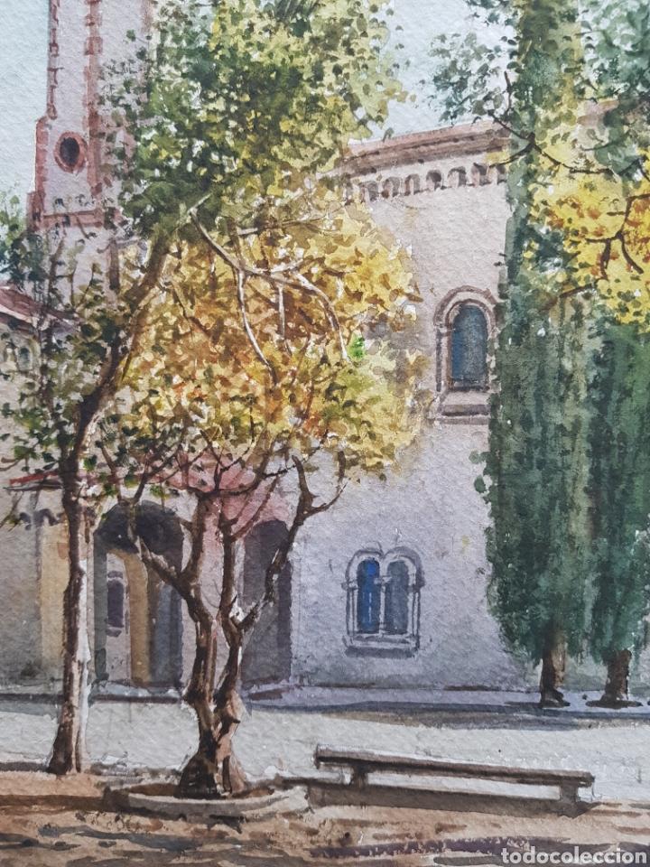 Arte: Carlos Ballestero Alcon (1942) - Santuario de la Salut,Sabadell.Acuarela.Firmada. - Foto 6 - 176410172
