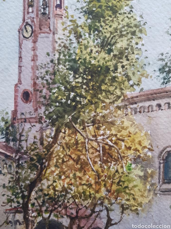 Arte: Carlos Ballestero Alcon (1942) - Santuario de la Salut,Sabadell.Acuarela.Firmada. - Foto 8 - 176410172